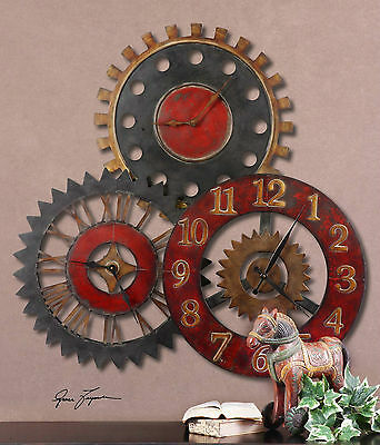 Rich Antiqued Metal Wall Clock Collage Three Clocks In One Gear Style Vintage