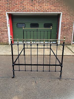 "Antique Cast Iron & Brass 4ft 6"" double bed Vintage Dreams Chic Living"