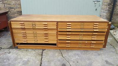 Large Vintage Mid 20th Century Architects Collectors Plan Chest Drawers