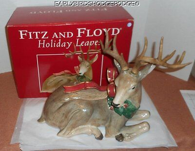 Fitz And Floyd Clasics Holiday Leaves Christmas Deer Centerpiece With Box