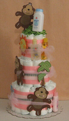 3 Tier Diaper Cake Monkeys Monkeyin' Pink or Blue Brown Baby Shower Centerpiece