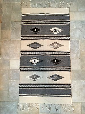 Beautiful Vintage Mexican Hand Woven Wool Rug