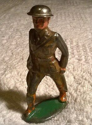 Antique Lead Soldier with Metal Helmet Barclay