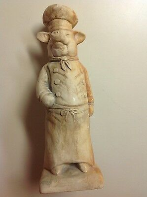 """VINTAGE FRENCH COUNTRY CHEF PIG/HOG STATUE FIGURINE DOOR STOP 13 1/4"""" Tall"""