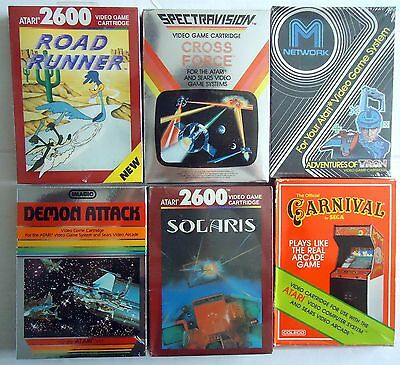 6 Atari 2600 Games Solaris Road Runner Cross Tron Carnival Demon  *new Sealed*