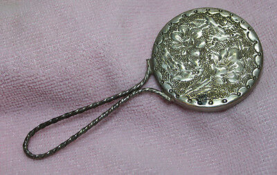 Unknown Vintage Silver Metal Handmirror with Twisted Handle & Hammered Design
