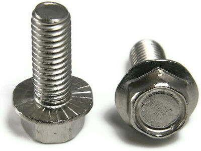 "Stainless Steel Hex Cap Serrated Flange Bolt FT UNC #10-24 x 1"", Qty 25"