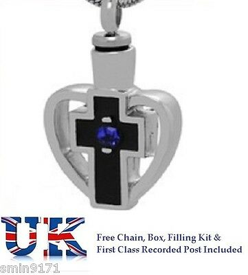 Cremation Ashes Jewellery Memorial Urn Pendant Keepsake Blue Tranquility Cross