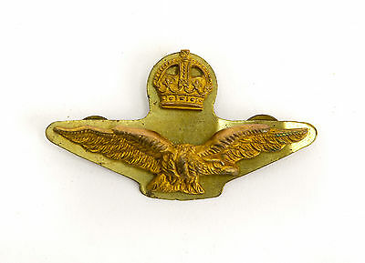 WW2 RAF ROYAL AIR FORCE Officers Side Cap Brass Badge with Backing Plate