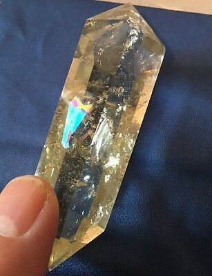 Uk New Natural Citrine Dt Quartz Crystal Point With Rainbows