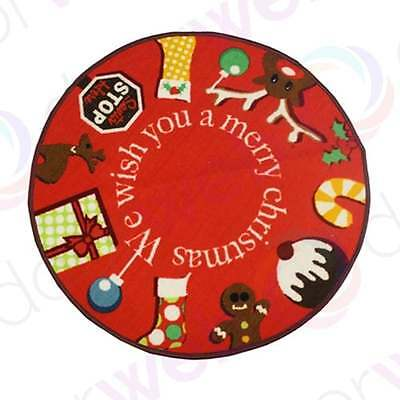 CHRISTMAS TREE SKIRT Mat Floor Protector Xmas Rug Indoor Decoration SANTA STOP