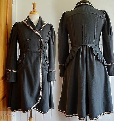 DESIGNER chilli peppper VICTORIAN riding BUSTLE COAT spring GREY LAGENLOOK 8 10