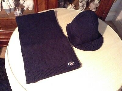 Men's Navy Blue U.S. Polo Assn. Peaked Hat & Scarf Set - New