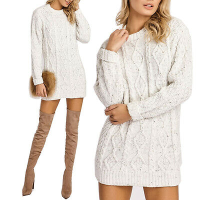 New Ladies Womens Crew Neck Cable Knit Mini Jumper Dress long Top Size 8-14