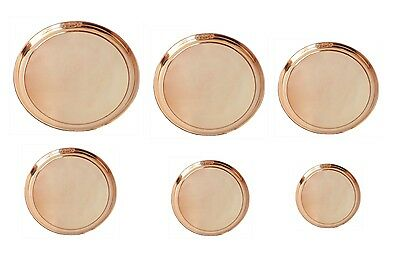 Pure Copper Round Plate - Copper Plate, Pooja, Serving & Dinning Plate 6 sizes