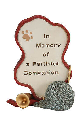 Cat Memorial Ornament With Red Border Bell & Ball Of Wool