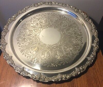 Large Heavy Silver Plate Tray With Grapes And Vines Border