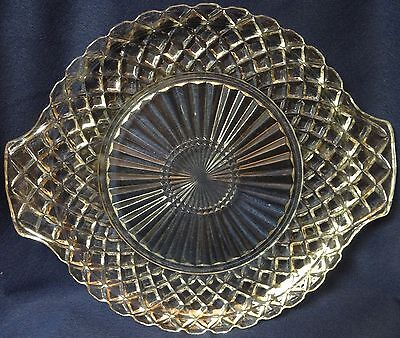 "Waterford Crystal Cake Plate Handled 10.25"" Set of 2 Hocking Glass Company"