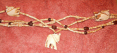 NWT  Necklace with Bone Elephants Pendants in strands