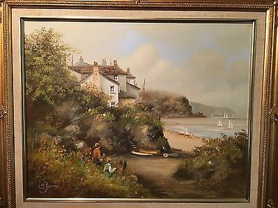 Lovely original oil by Les Parson of beach ,bay, house and children.