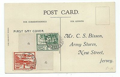 Eb 47. 1 Jun 1943 Jersey wartime issue first day card of 1d & ½d issue.