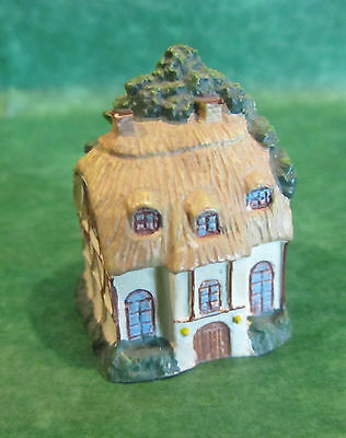 1 - Thatched Roof Cottage With Trees Ceramic Thimble