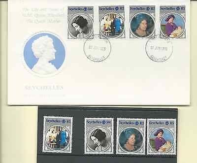 SEYCHELLES 1985 OFFICIAL 2 FDC's & MNH SET WITH S/S SC 567-71 QUEEN MUM 85 B-DAY