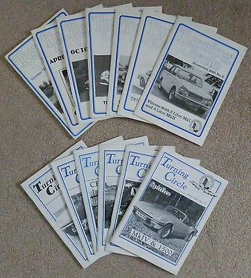 TURNING CIRCLE (The Triumph Sports Six Club Magazine) 14 issues, 1982 to 1991