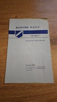 Bedford v Northampton 1973 Rugby Union Programme