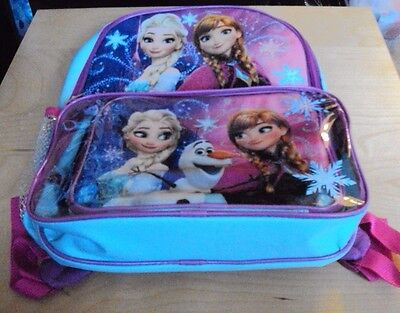 Disney Frozen Girls Backpack Elsa and Anna with Lunch bag