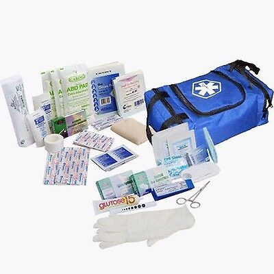 Fully Stocked Responder Bag First Aid Kit BLS Emergency Medical Small EMT, Blue