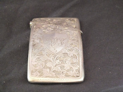 Rare & Unusual Antique Edwardian Solid Silver Card Case - Chester 1907
