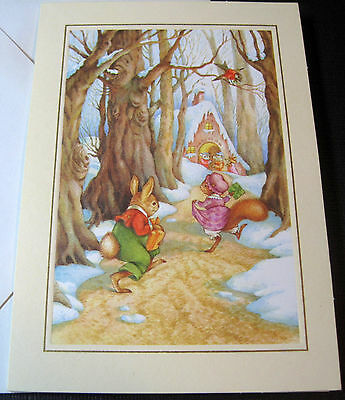 Unused Vtg Christmas Card Cute Bunny & Squirrel Going to House for Christmas