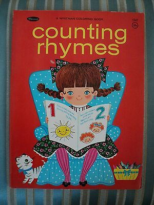 Vintage Counting Rhymes Coloring & Activity Book Whitman 1970 NOS
