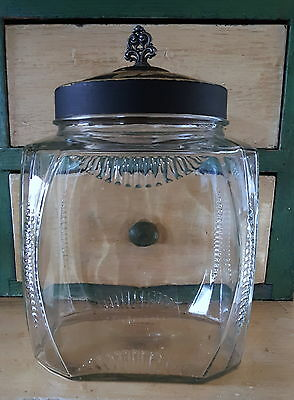 Large Antique Glass Apothecary Jar with Lid * Antique Candy Store Jar with Lid