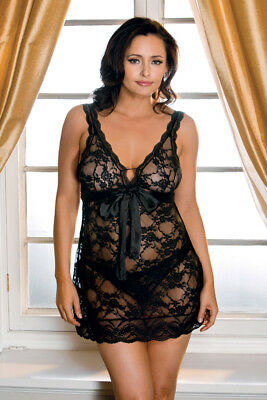 Plus Size All Wrapped Up Lace Chemise and Thong Lingerie Set