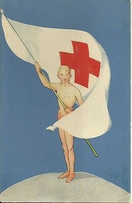 Red Cross postcard Sweden 1958 with label.