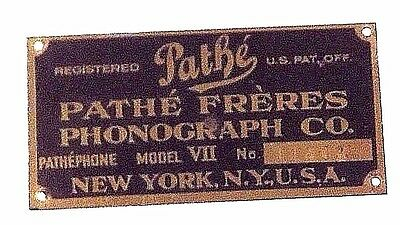 Phonograph Pathe Freres  Vii  Cabinet  Id Tag