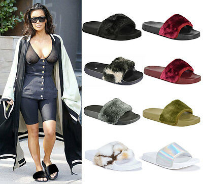 Ladies Womens Furry Rihanna Fenty Inspired Flat Slider Sandals Mules Shoes Size