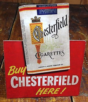Buy Chesterfield Cigarettes Here Tobacco Tobacciana Store Display Counter Sign