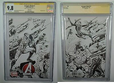 Avengers World #1 1:125 Sketch Variant Cgc Ss 9.8 Signed By Arthur Adams