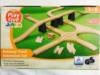 Playtive Junior Railway Track Extension Set 34 pcs Compatible Brio and Others