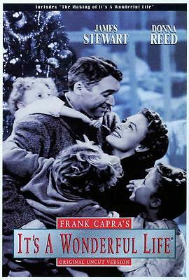 It's a Wonderful Life Movie POSTER 27 x 40 James Stewart, Donna Reed, C LICENSED