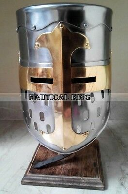 Medieval knight Helmet Re-enactment Role Play Movie Templer Helmet Without Stand