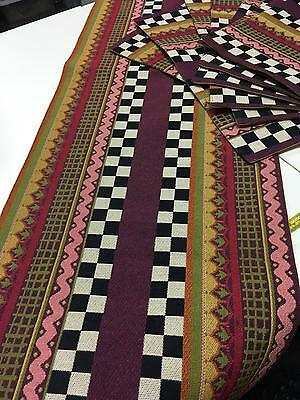 MACKENZIE CHILDS Decorative Geo Table Runner + 8 Matching Placemats in EUC