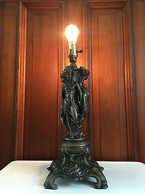 Antique GODDESS Cast Metal TABLE LAMP Art Nouveau VICTORIAN Figural Lady Light