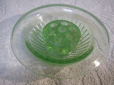 Green 1930's Art Deco Pressed Glass Posy Bowl With Frog Poss Bagley