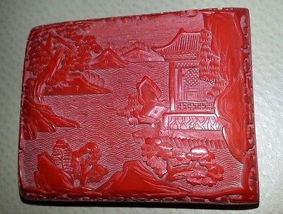 Vintage Carved CINNABAR red Blue Enamel Brass rectangle LACQUER TRINKET BOX
