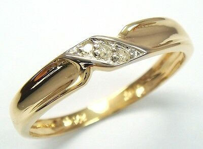 Fine 9Kt Solid Yellow Gold 3 Diamond Ring   R1227