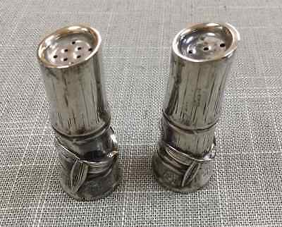 Vintage 925 Sterling Silver Bamboo Salt And Pepper Shakers!!!